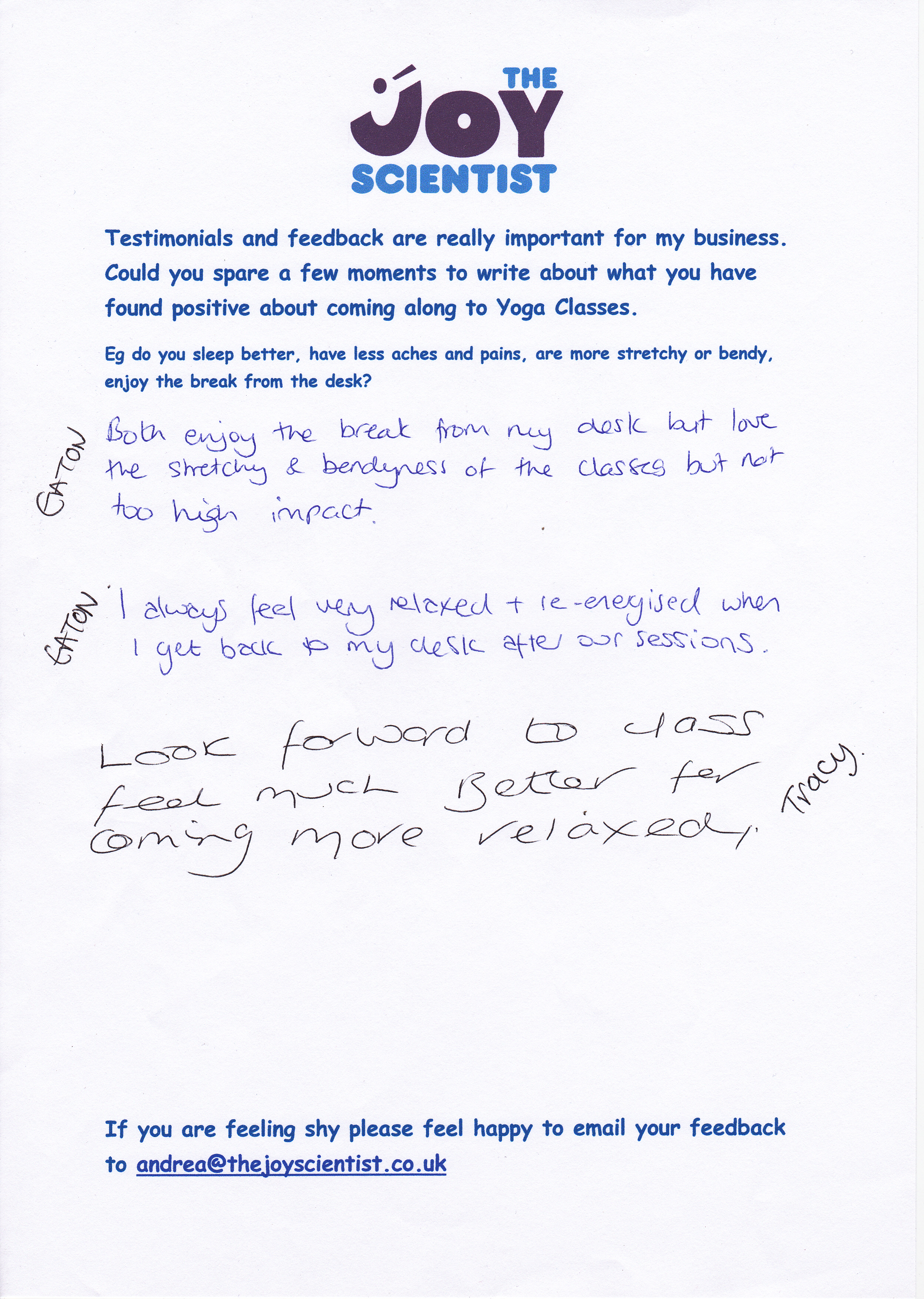 feedback from clients regarding therapy yoga dru srt and the joy formula